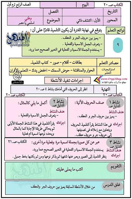 تحضير الدرس التاسع عربي رابعة ابتدائي 2022 الترم الاول