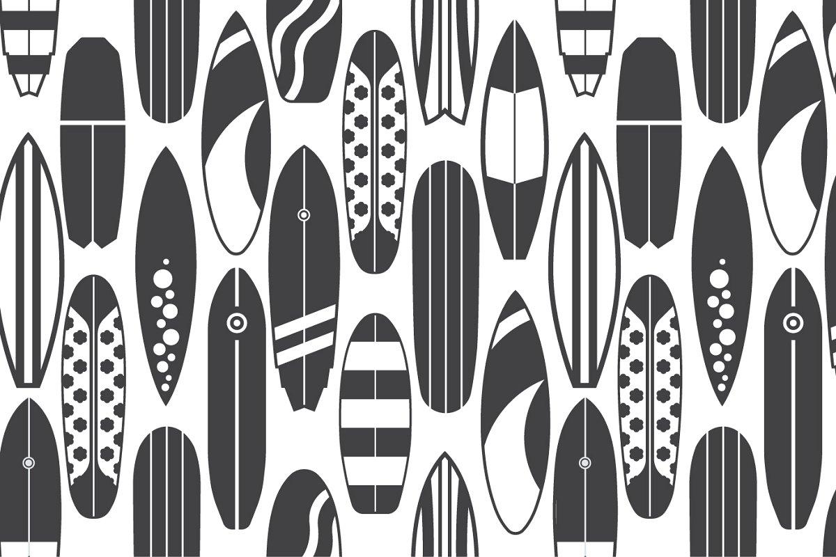 Retro Surfboard Pattern Set (EPS, JPG, AI)