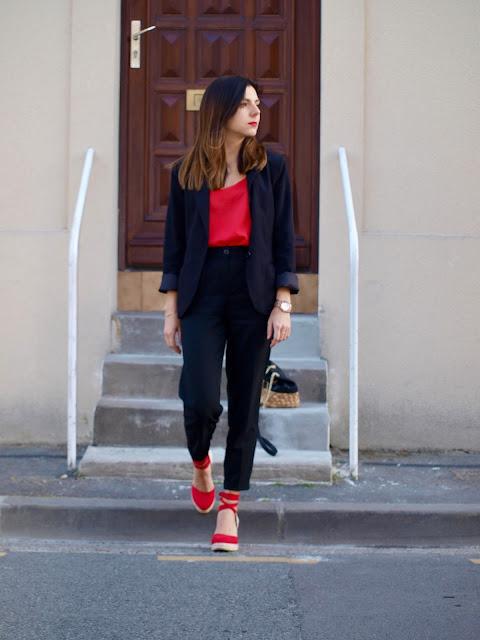 bicolor rouge noir classe talon montre
