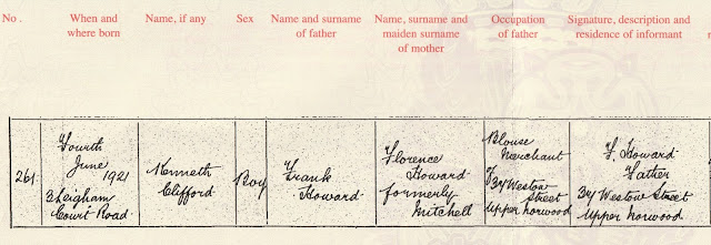 1921 Birth Registration for Kenneth Clifford Howard (GRO)