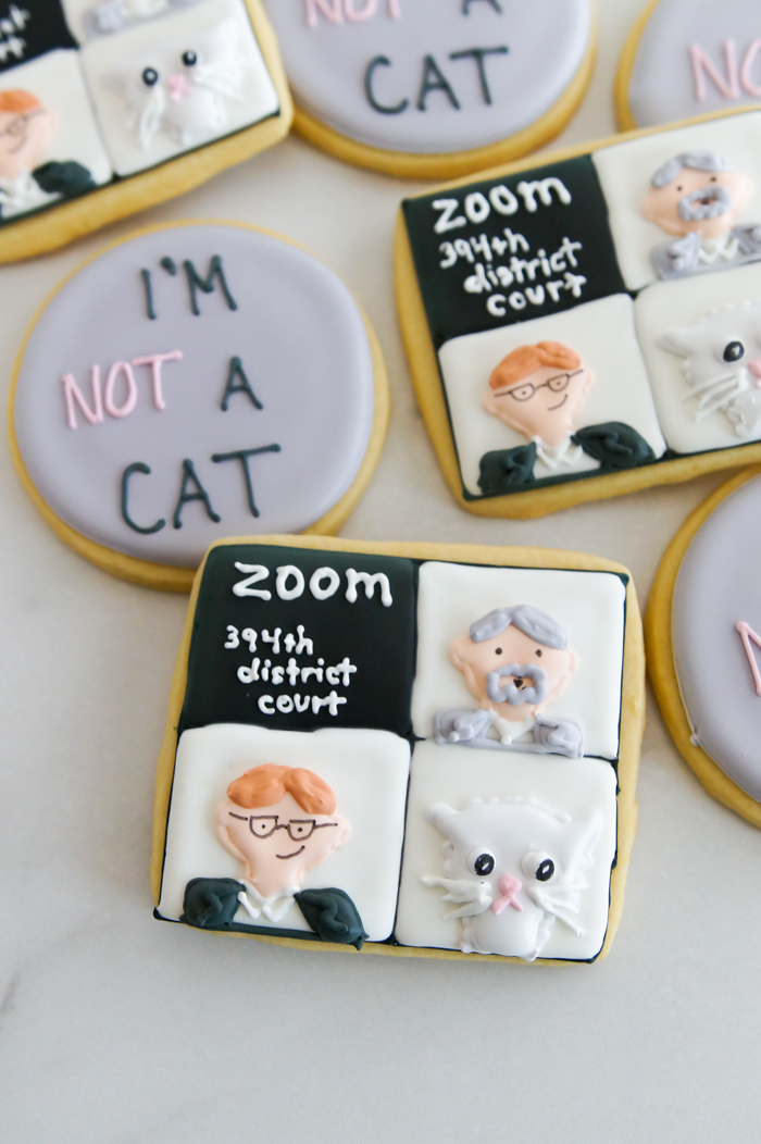 """""""I'm not a cat"""" Zoom Call decorated cookie tutorial"""