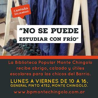 La Biblioteca continúa con la colecta de abrigo y calzado para estudiantes de Monte Chingolo