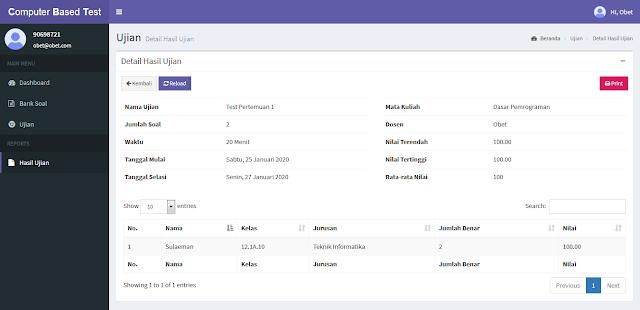 PHP Ujian Online CBT Kampus Berbasis Web dengan CI