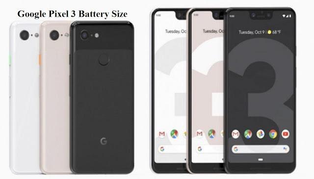 Google Pixel 3 battery size