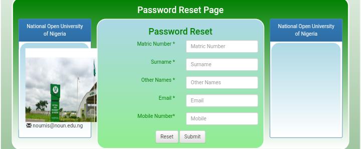 NOUN Students Password Reset