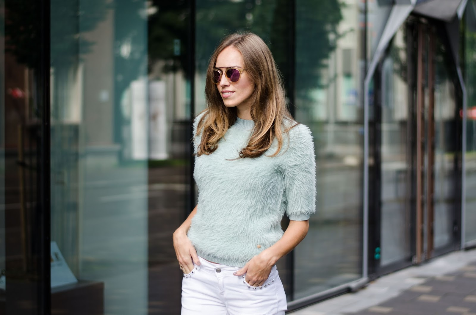 mint fluffy sweater outfit