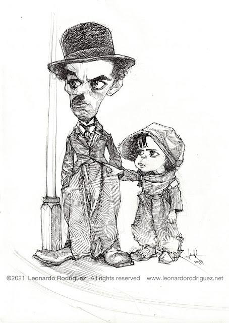 Charlie-chaplin-the-kid-1921-100-years-caricature