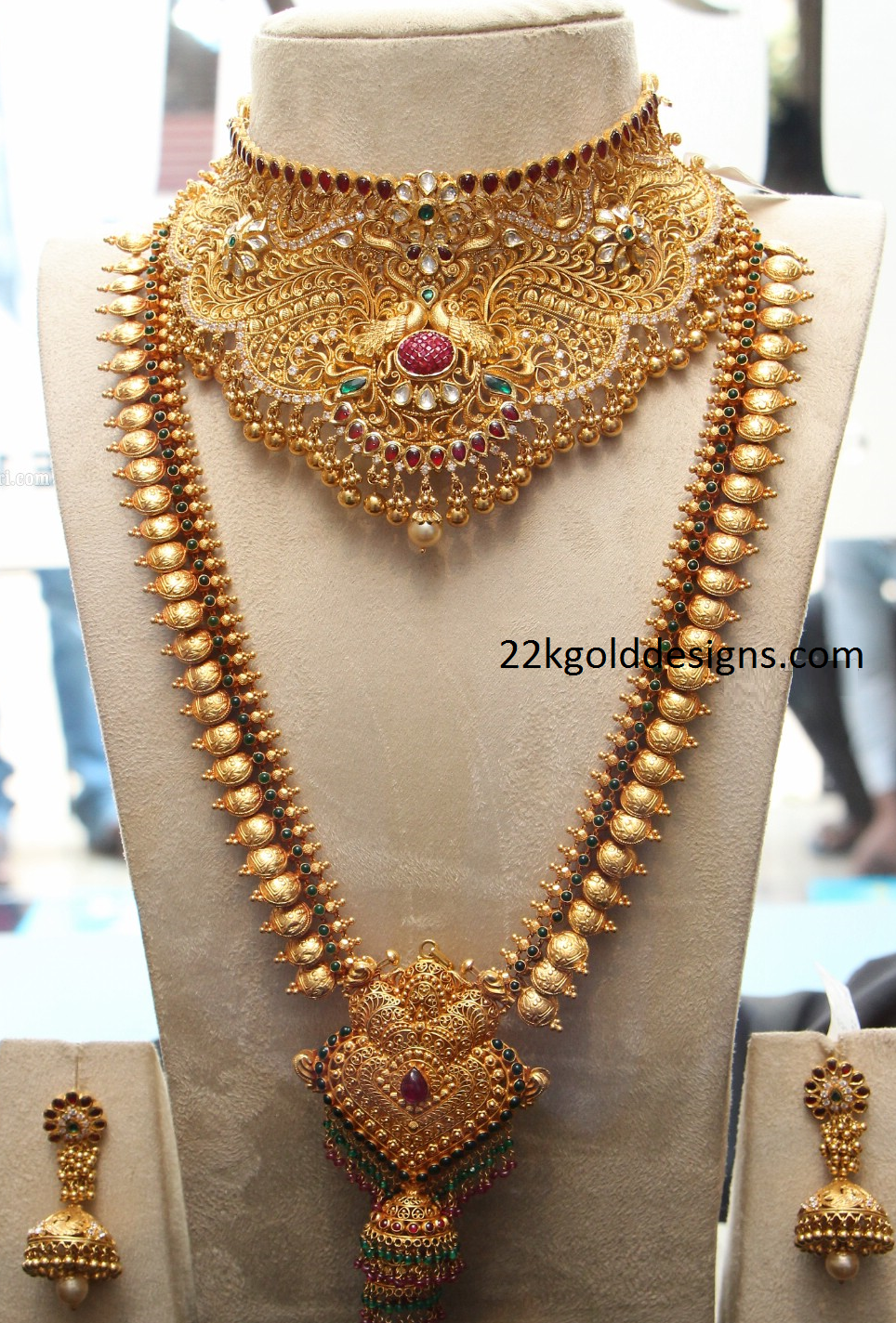 Gold long necklace design with price - Bridal Gold Necklace And Kasu Long Chain Design