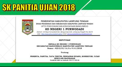Contoh SK Panitia Ujian Sekolah SD USBN Tahun 2018
