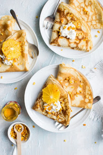 Crepe suzette and Yogurt pancakes with their step-by-step preparation method 2 recipes at the same time