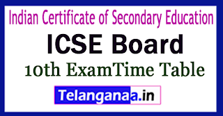 ICSE 10th Time Table 2018