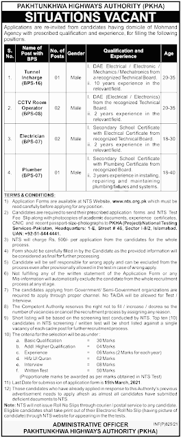 Pakhtunkhwa Highways Authority PKHA Jobs 2021 for Plumber Jobs in Pakistan 17/02/2021 Latest