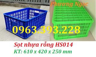 Sọt nhựa HS014, sóng nhựa công nghiệp 2T5, sọt nhựa rỗng cao 25 cm