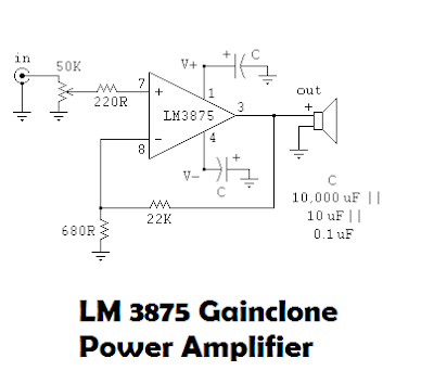 LM 3875 3876 Gainclone Power Amplifier Schematic