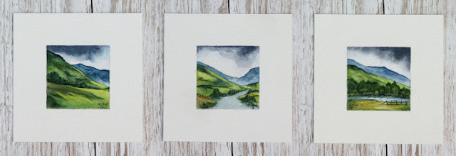 Watercolour paintings of Scotland hills