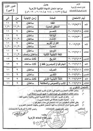جدول امتحانات الثانوية الأزهرية 2019 القسم الأدبى - موقع مدرستى