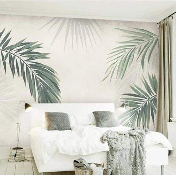 Wallpaper Dinding Kamar Tidur Motif Daun