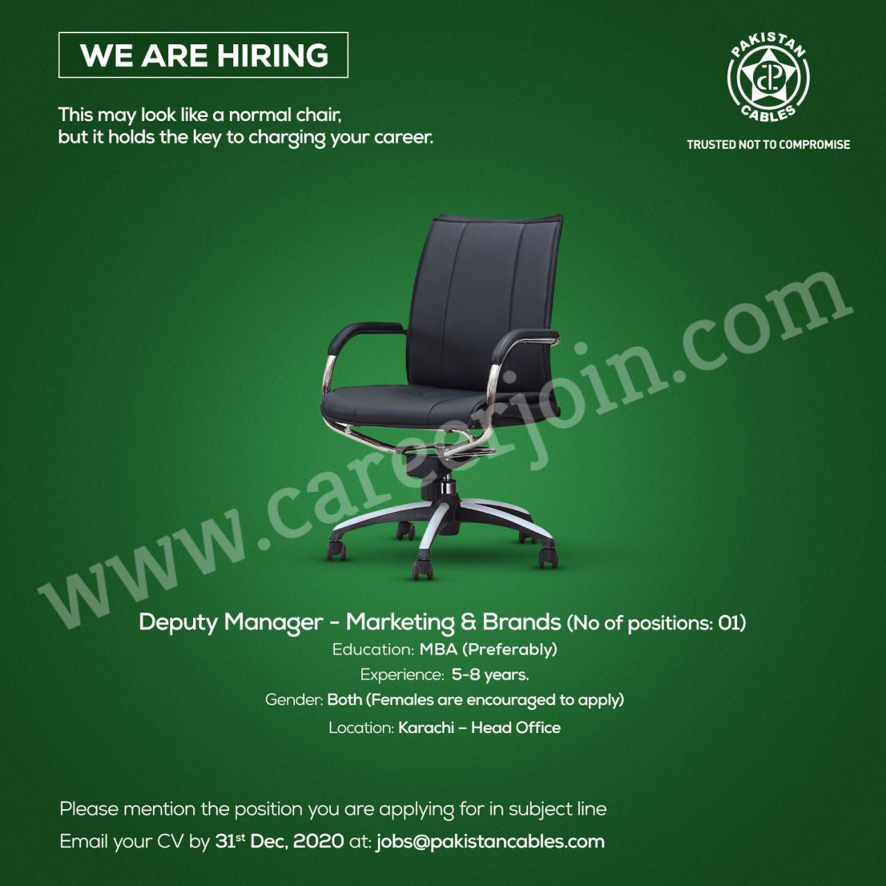 Latest Pakistan Cables Limited Jobs in Pakistan For Deputy Manager Marketing & Brands Posts