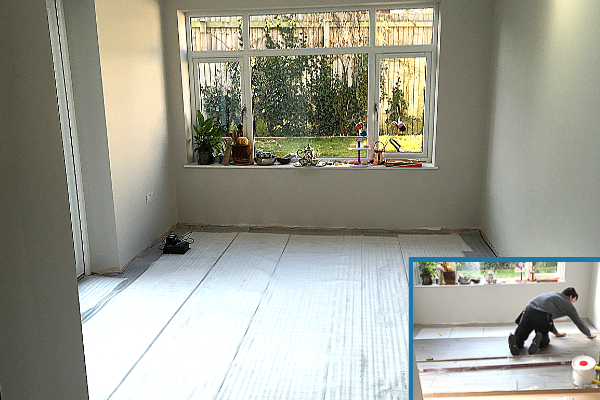 laying the top foam before laying the laminate flooring