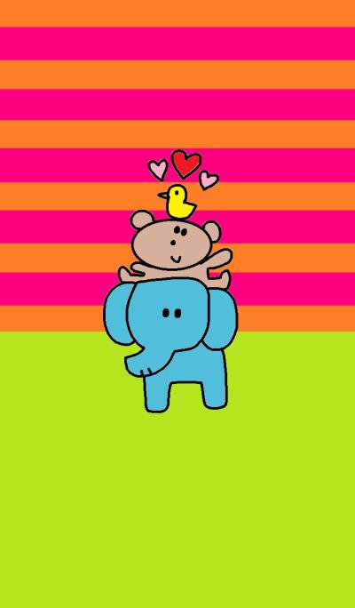 (elephant and kumako x pink border)