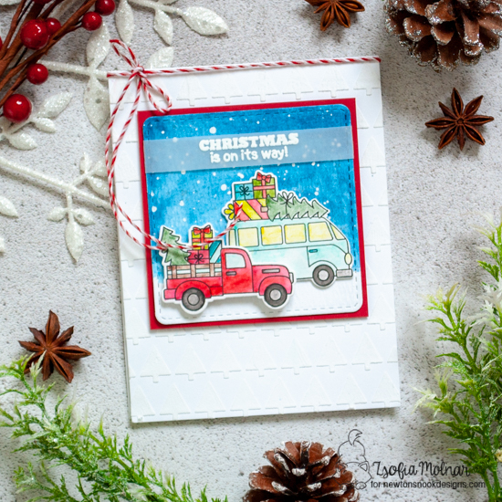 Truck and van carrying Christmas trees Card by Zsofia Molnar | Christmas Delivery Stamp Set and Tiny Trees Stencil by Newton's Nook Designs #newtonsnook #handmade