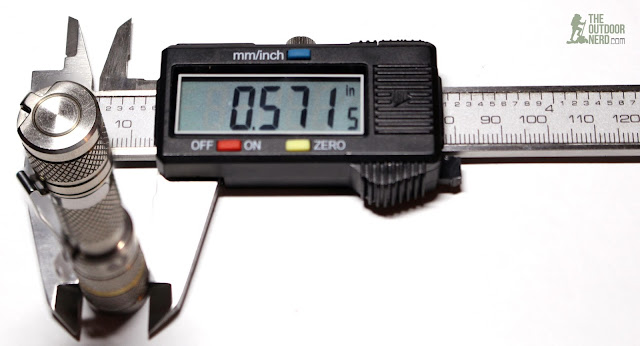 Lumintop Tool Ti AAA Flaslight - Calipers Measurement 1