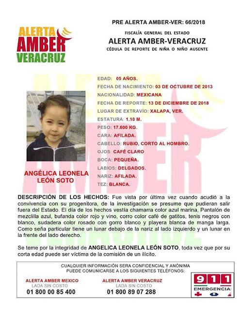 Activan Alerta Amber para Angelica Leonela Leon Soto en Xalapa
