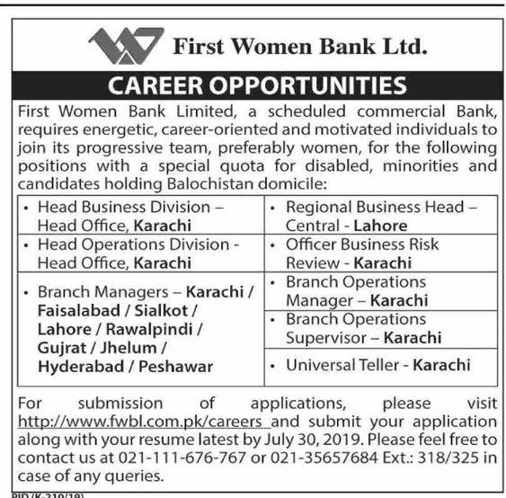 Latest First Women Bank Ltd Jobs July 2019 - Pakistan Jobs
