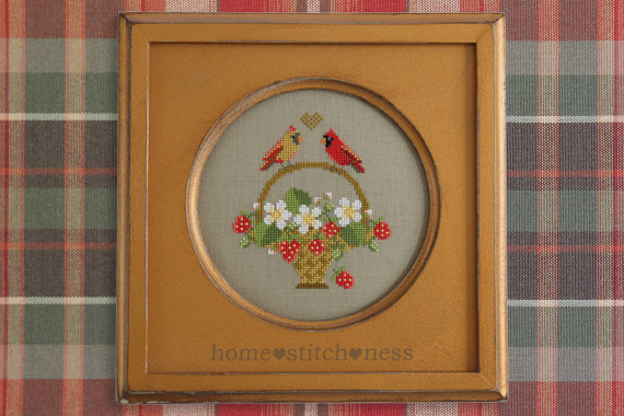 strawberries red cardinal female cardinal berry basket summer cross stitch pattern sampler