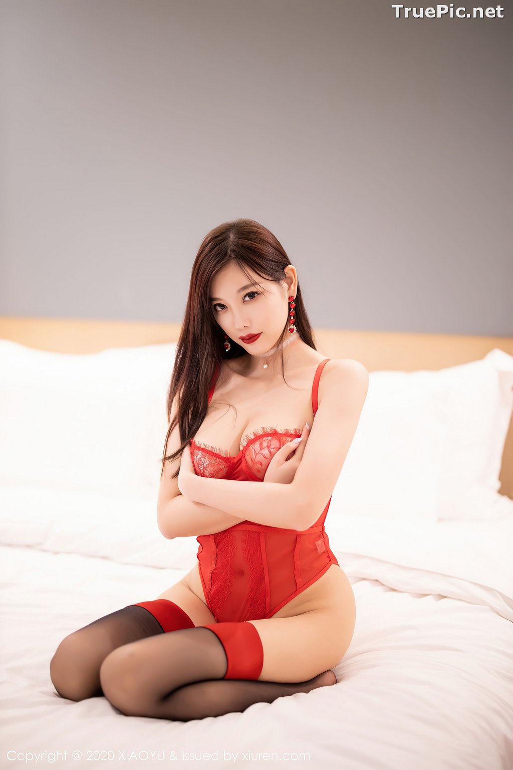 Image XiaoYu Vol.413 - Chinese Model - Yang Chen Chen (杨晨晨sugar)- Red Crystal-clear Lingerie - TruePic.net - Picture-46