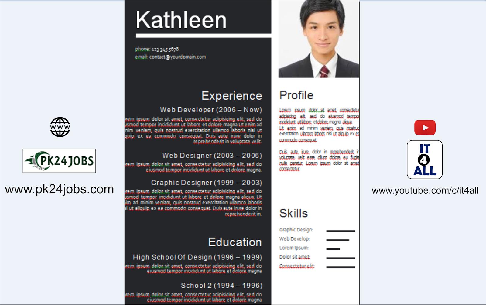 Modern CV Template Free Download Editable in MS Word