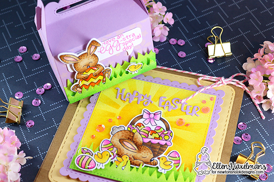 Easter Card and Treat Box by Ellen Haxelmans | Hop Into Spring Stamp Set, Land Borders Die Set, Frames Squared Die Set , Sunscape Stencil and Petite Flowers Stencil by Newton's Nook Designs #newtonsnook #handmade