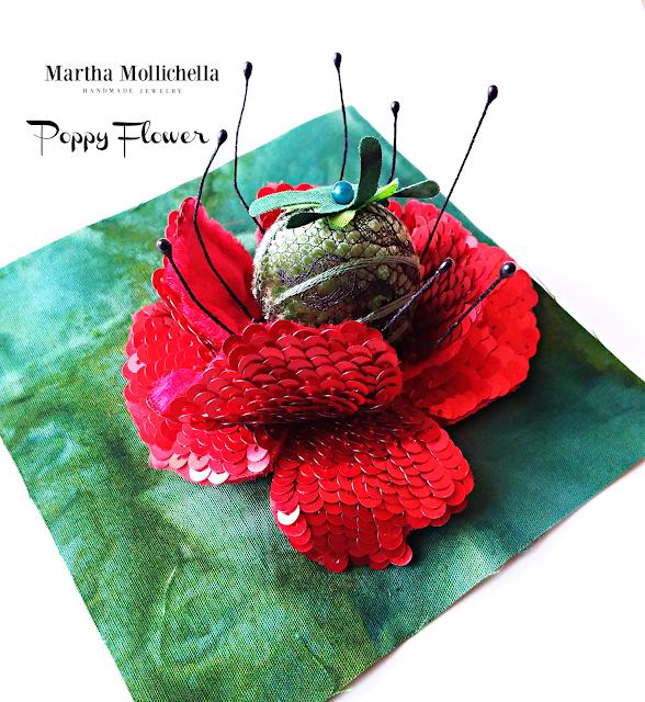 Martha Mollichella embroidery bead embroidery brooches
