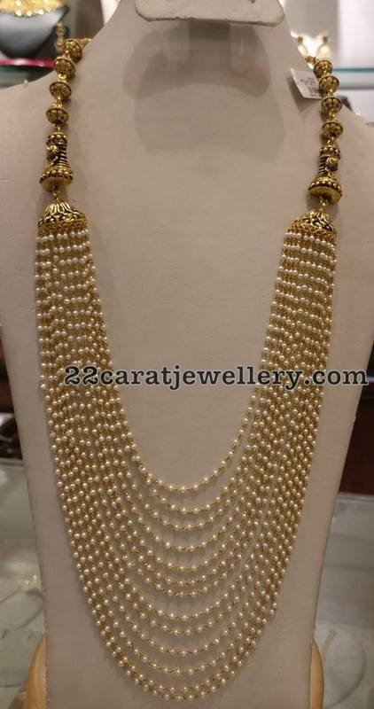Pearls Long Set with Antique work Clasps