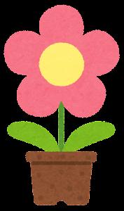 鉢植の花のイラスト(ピンク)