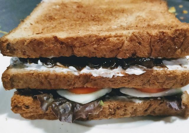 Three layered bread slice sandwich food Recipe