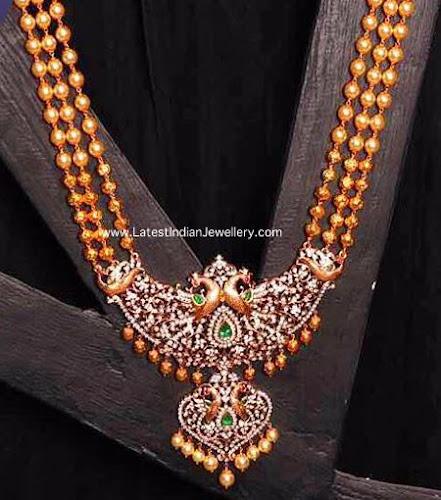 Gold Balls Diamond Peacock Pendant