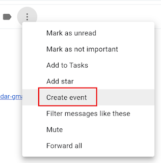 select the create event button in the menu that appears after selecting the three vertical dots button in gmail