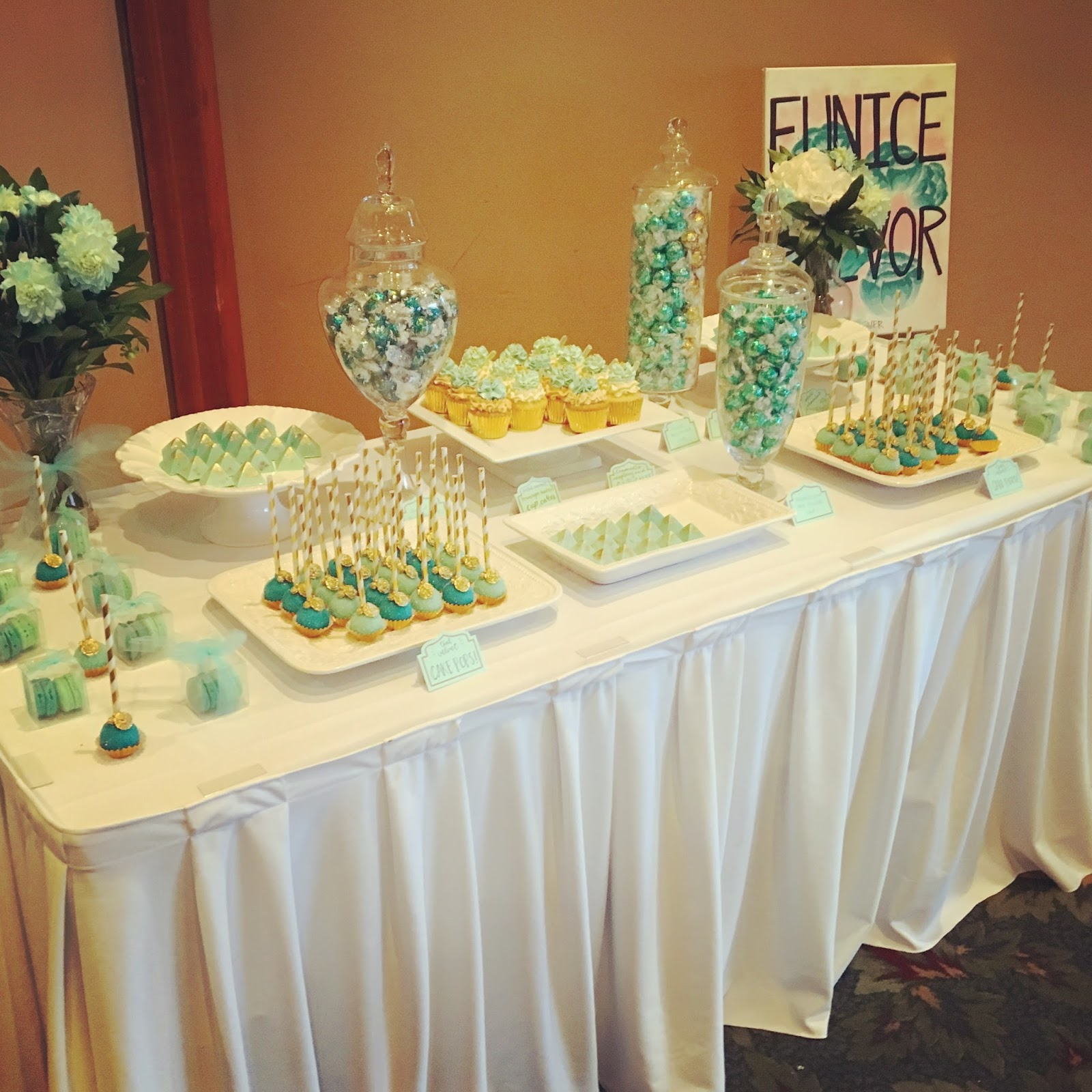 Teal, White & Gold Wedding Cake & Dessert Table | Crissa\'s Cake Corner!