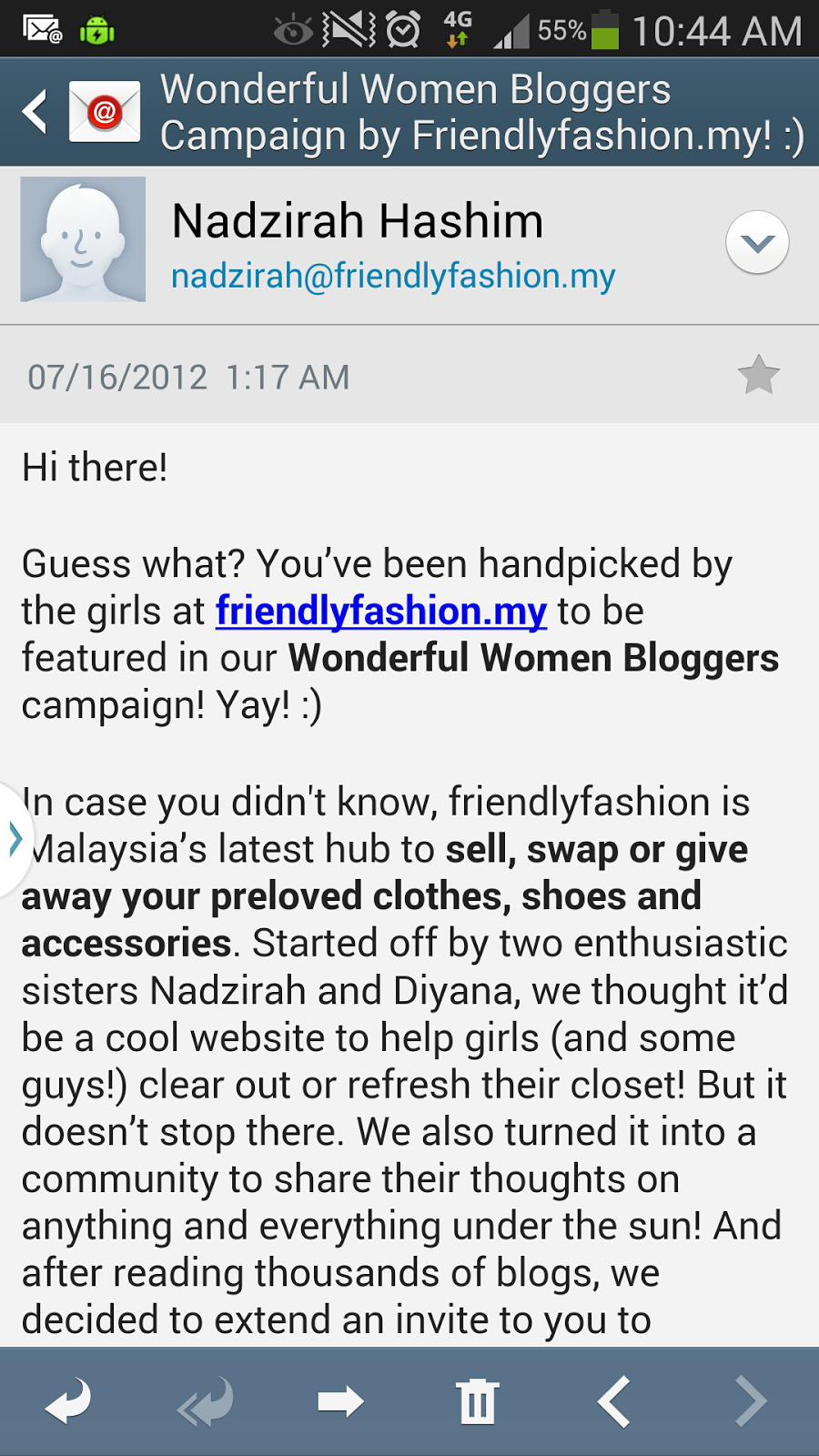 invitation by Friendly Fashion to become official blogger