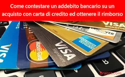 Come contestare un addebito bancario su un acquisto con carta di credito per chiedere il rimborso
