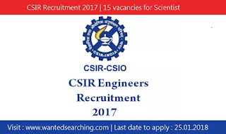 CSIR Recruitment 2017 | 15 vacancies for Scientist & Senior Scientist Posts