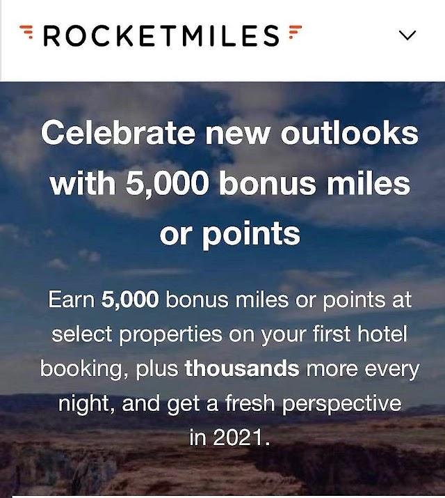 ROCKETMILES 2021 首次預訂入住可以額外獲得贈送5000 里/點活動 (3/31前)