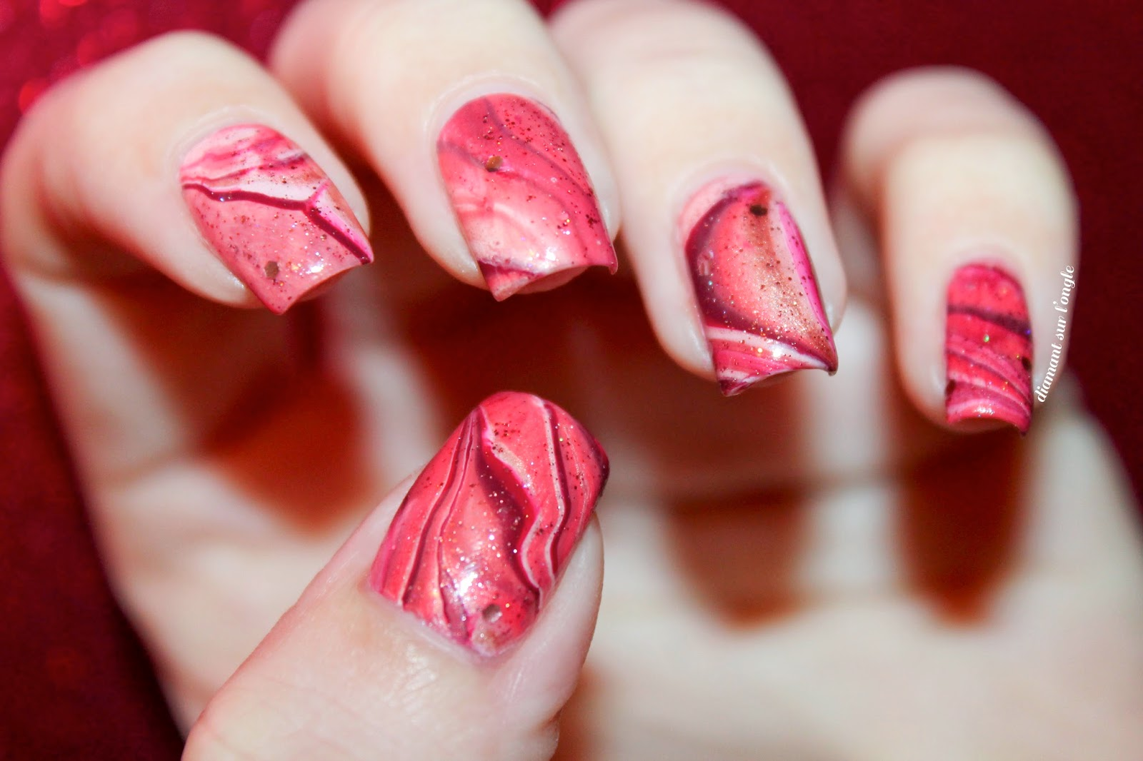 Watermarble nail art made with Marsala, Pantone, Color Of the Year 2015 nail polishes