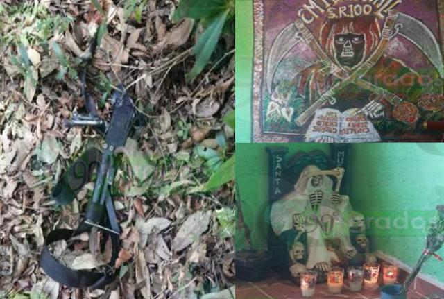 """Fotos: Revientan Narcocampamento tras emboscada a Policías, """"Lalo Mantecas"""" y el """"Comandante Jabalí"""" de LFM referenciados en altares y pintas de la santa muerte"""