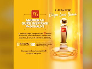 Anugerah Guru Inspirasi McDonald's kembali untuk tahun ke-5 bagi mengiktiraf guru-guru yang memberi inspirasi