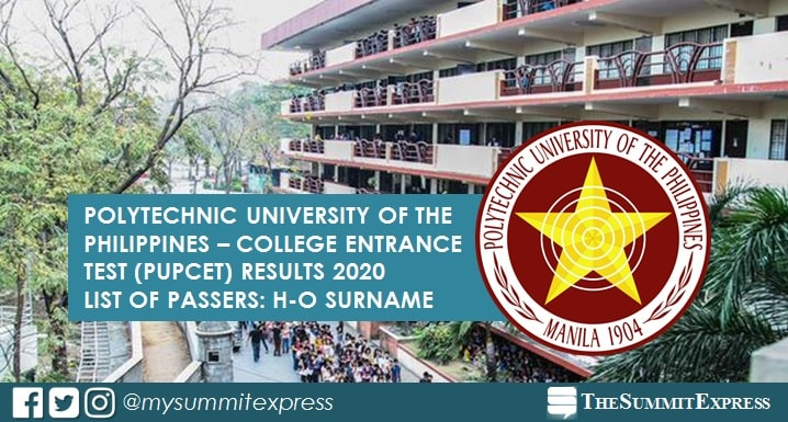 H-O Passers: PUPCET Results 2020