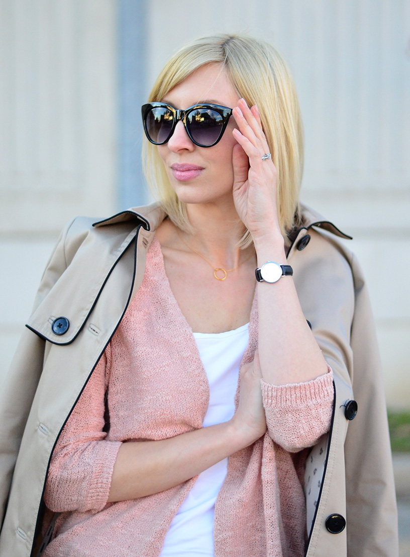trench coat and jeans style