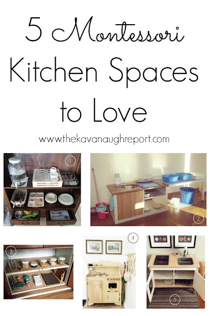 A cute roundup of 5 Montessori kitchens to love. See how Montessori ideas can be implemented in a bunch of different spaces.