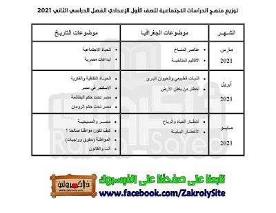 توزيع منهج الدراسات للصف الاول الاعدادي الترم الثاني 2020